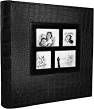 RECUTMS Leather Cover Slots Album 400 Pockets,Black Pages Horizontal and Vertical 4x6 Photos 5 Per Page Large Capacity Travel Record Family Album Baby Photo Picture Album
