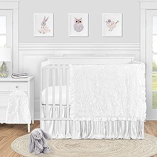 Sweet Jojo Designs White Floral Vintage Lace Baby Girl Nursery Crib Bedding Set - 4 pieces - Solid Crinkle Crushed Velvet ...