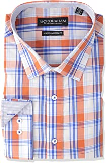 Nick Graham Men's Modern Fitted Plaid Pattern Stretch Dress Shirt