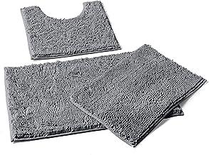 LuxUrux Bathroom Rugs, 3pc Non-Slip Shaggy Chenille Bathroom Mat Set, Includes U-Shaped Contour Toilet Mat, 20 x 30'' and ...