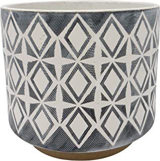 "Amazon Brand – Rivet Geometric Ceramic Planter, 8.625""H, Black"