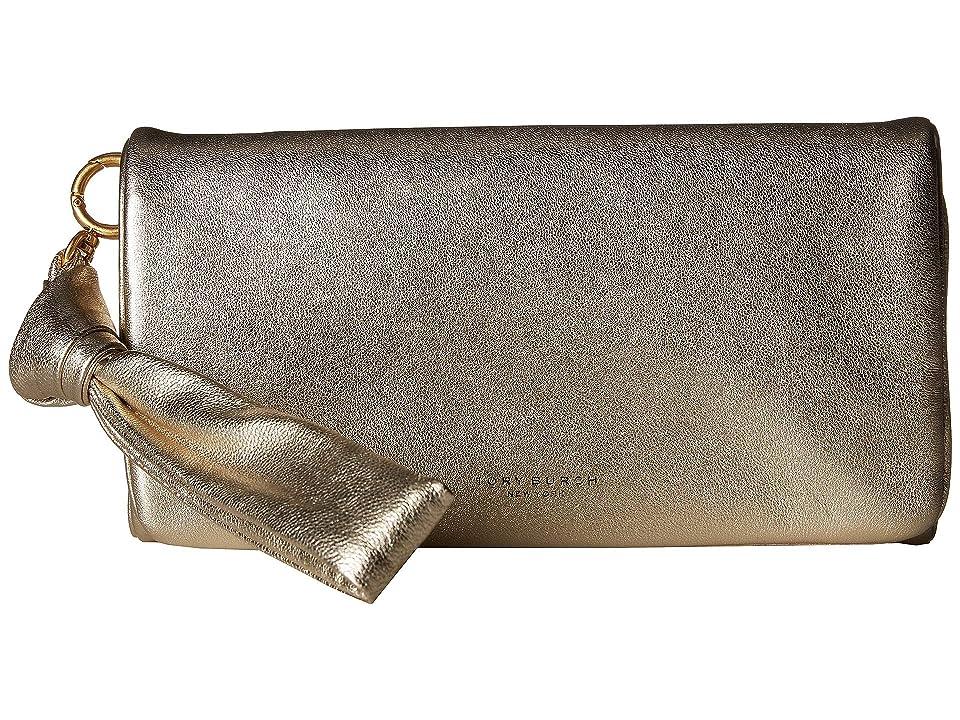 Tory Burch Beau Metallic Wristlet (White/Gold) Wristlet Handbags