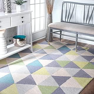 nuLOOM Triangles Wool Rug, 4' x 6', Green