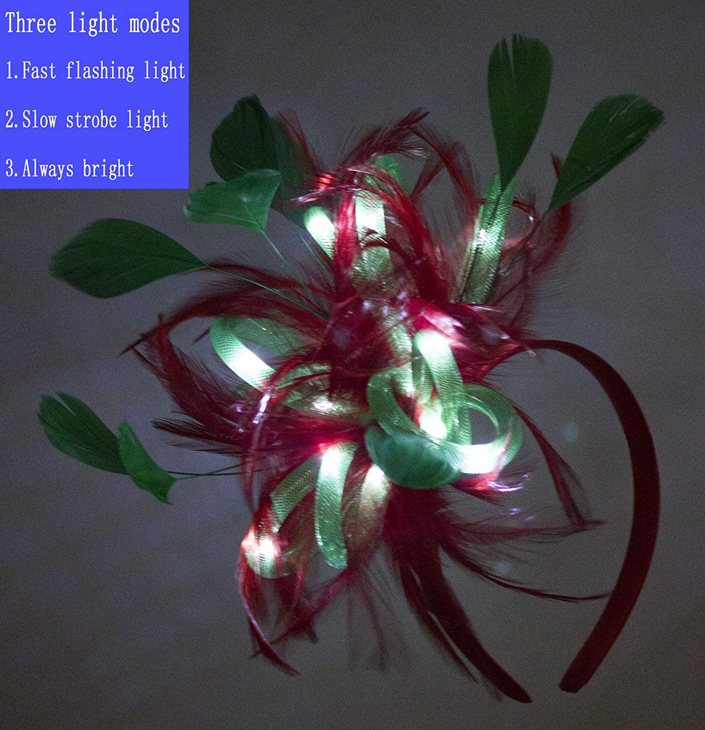Myjoyday LED Light up Festival Feather Fascinator Coloured Lighting Special Occasion Events Festive Headband for Women