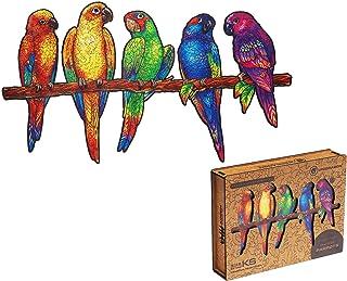 UNIDRAGON Wooden Puzzle Jigsaw, Best Adults and Kids, Unique Shape Jigsaw Pieces Playful Parrots, 19.3 x 10.6 in (49 x 27 ...