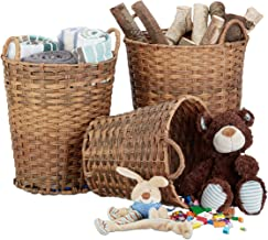Relaxdays Set of 3 Storage Baskets, Woven, Robust, Storage Bin, Shelf Unit, 3 Sizes, Natural