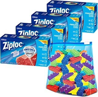 Ziploc Quart Food Storage Freezer Slider Bags, Power Shield Technology for More Durability, Clear, 34 Count, Pack of 4