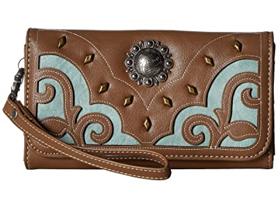 M&F Western Calico Kate Clutch Wallet (Brown) Handbags