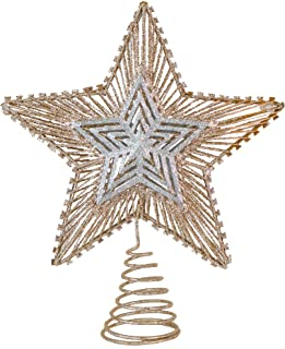 Ornativity Christmas Glitter Star Tree Topper - Rose Gold and Silver Bethlehem Star Ornament