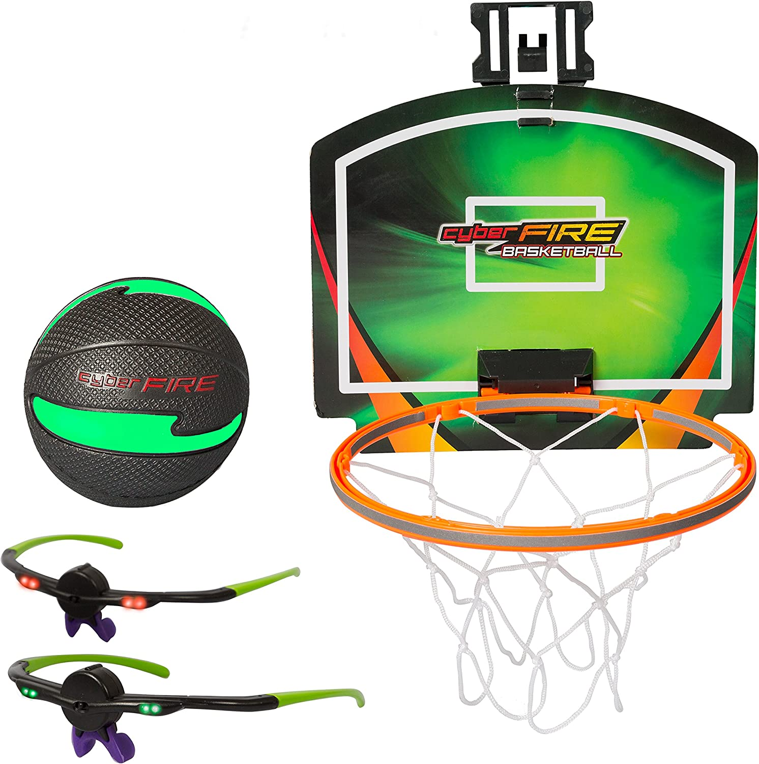 Cyberfire  Glow In The Dark Sports Ball  Indoor   Outdoor Sports Ball With LED Line Of Sight Technology Glasses ( Basketball).