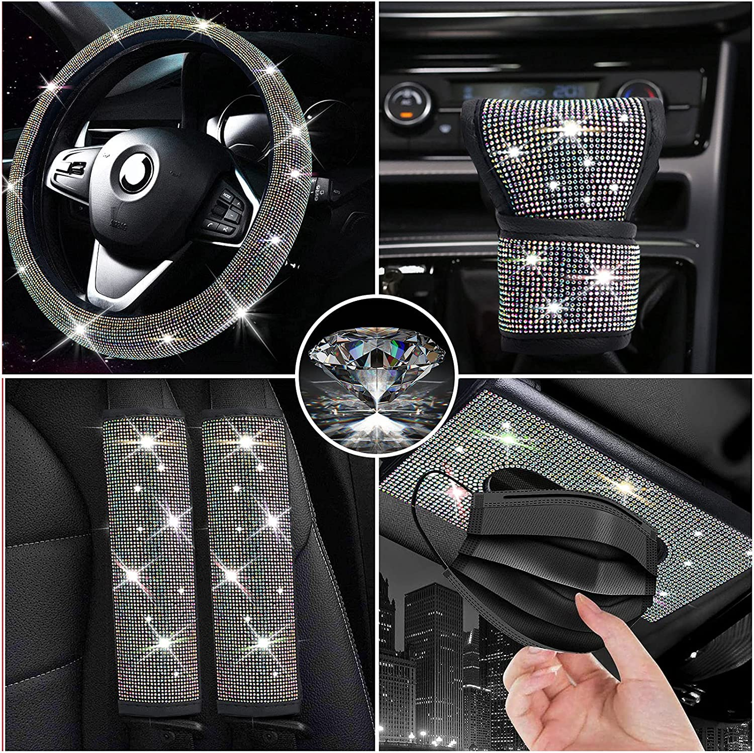 Some reservation Sofevaim Bling Universal Car Accessories 5pc High material Diamond Set Steerin