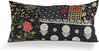 "LR Home Deep Night Kantha Throw Pillow, 20"" x 20"", Multi/Black"