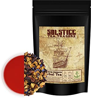 Hibiscus Blue Eyes Herbal Tea (8oz Bulk Bag); Caffeine-Free Tisane w/ Dried Flowers & Fruit