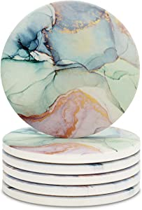 ABSTRACTED Marble Coasters for Drinks, Geode Coasters, Agate Coaster Large Absorbent, Water Absorbing Coasters for Glass Table Top - Large 4 inch Size, Set of 6 (Light Green Marble)