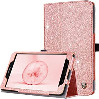 Galaxy Tab A 8.0 Case 2017, BENTOBEN Slim Fit Glitter Sparkly Flip Folio PU Leather Stylus Holder Auto Sleep/Wake Protective Smart Cover for Samsung Galaxy Tab A 8.0 2017 (SM-T380/SM-T385), Rose Gold