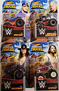 Hot Wheels Monster Trucks WWE First Wave Set with John Cena Stone Cold Steve Austin Undertaker and AJ Styles 1-4