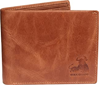 Bull Guard Mens Leather Wallet Bifold with ID Window and RFID Blocking