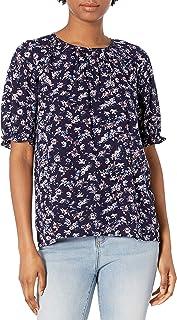 Lucky Brand womens Short Sleeve Crew Neck Lauren Ruffle Top Shirt