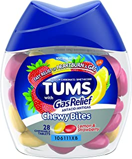 TUMS Chewy Bites Chewable Antacid Tablets with Gas Relief, Lemon & Strawberry -, Assorted Berries, 28 Count