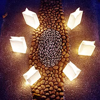 lightsfever-50pcs Luminaries with Lights luminaria Light up LED Luminary Bags White Paper Bags for Diwali Decorations, Wedding Decor(Warm White)
