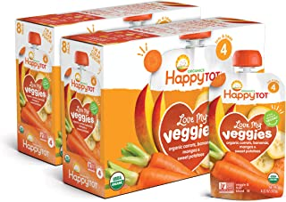 Happy Tot Organic Stage 4 Baby Food Love My Veggies Carrot Banana Mango & Sweet Potato, 4.22 Ounce Pouch (Pack of 16) (Pac...