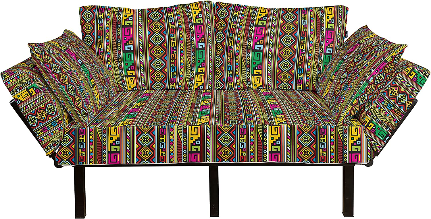 Ambesonne Tribal Futon Couch Design Cheap mail order specialty store Colorful with High quality new D Geometrical