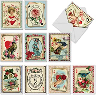 10 'All Decked Out' Note Cards w/Envelopes, Blank Greeting Cards for All Occasions 4 x 5.12 inch, Playing Card Stationery Set for Weddings, Birthdays, Holidays, Thank Yous M2381OCB