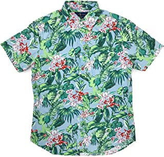 Ralph Lauren Polo Mens Short Sleeve Tropical Floral Slim Fit Oxford Shirt Blue