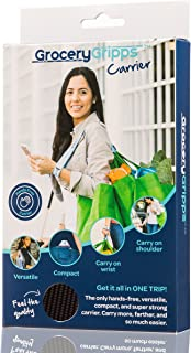 Grocery Gripps Hands-Free Shopping Bag Carrier (Plastic and Reusable) - Make Shopping Easier With This Grocery Bag Holder - Ergonomic, Compact, Super Strong & Simple To Use - Black
