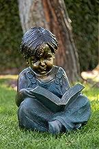 Alpine Corporation Boy Sitting Down Reading Book Statue Set - Outdoor Decor for Garden, Patio, Deck, Porch - Yard Art Decoration
