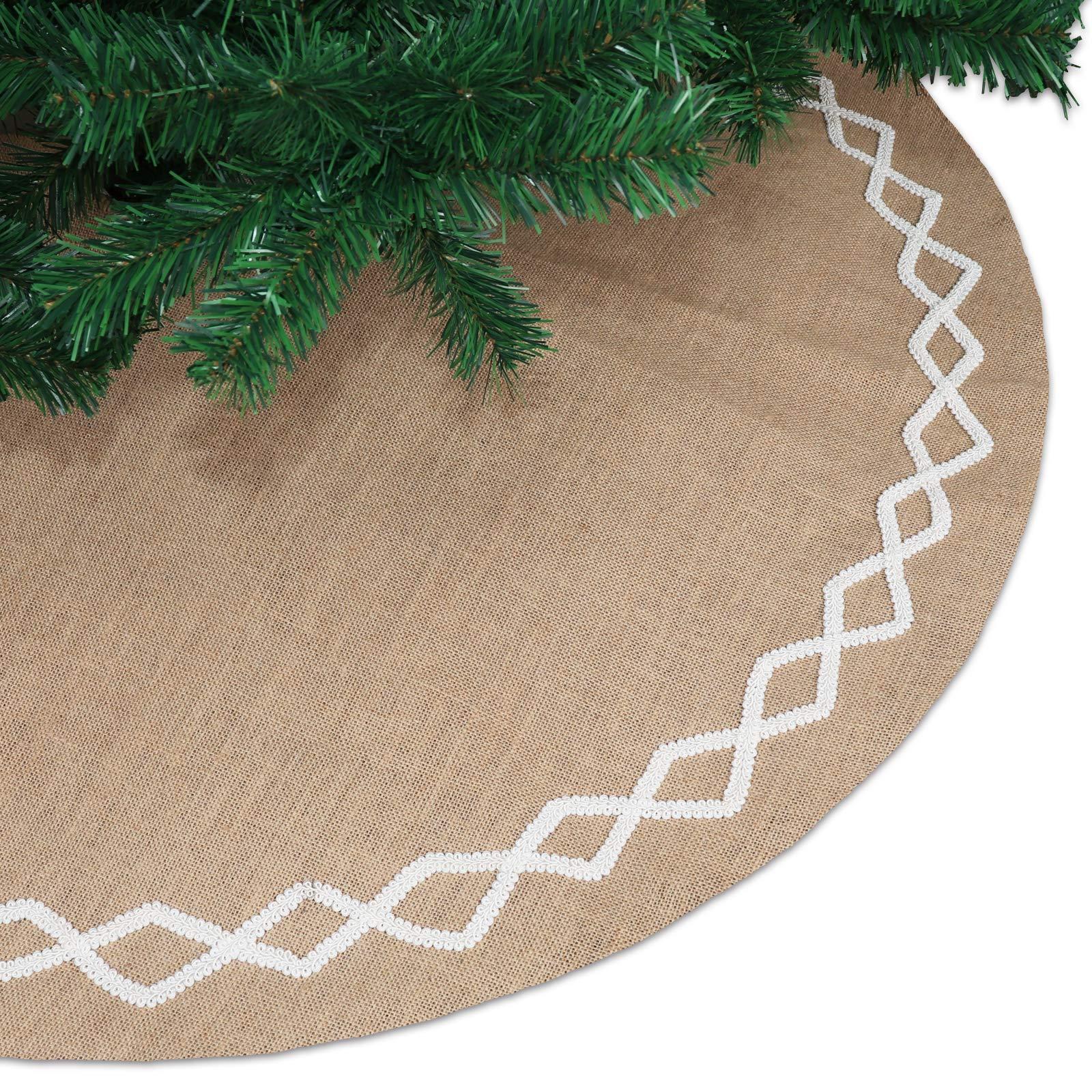 Rustic Xmas Tree Holiday Decorations Ivenf 48 inch Luxury Burlap Plaid Snowflake Christmas Tree Skirt with Thick Faux Fur Edge