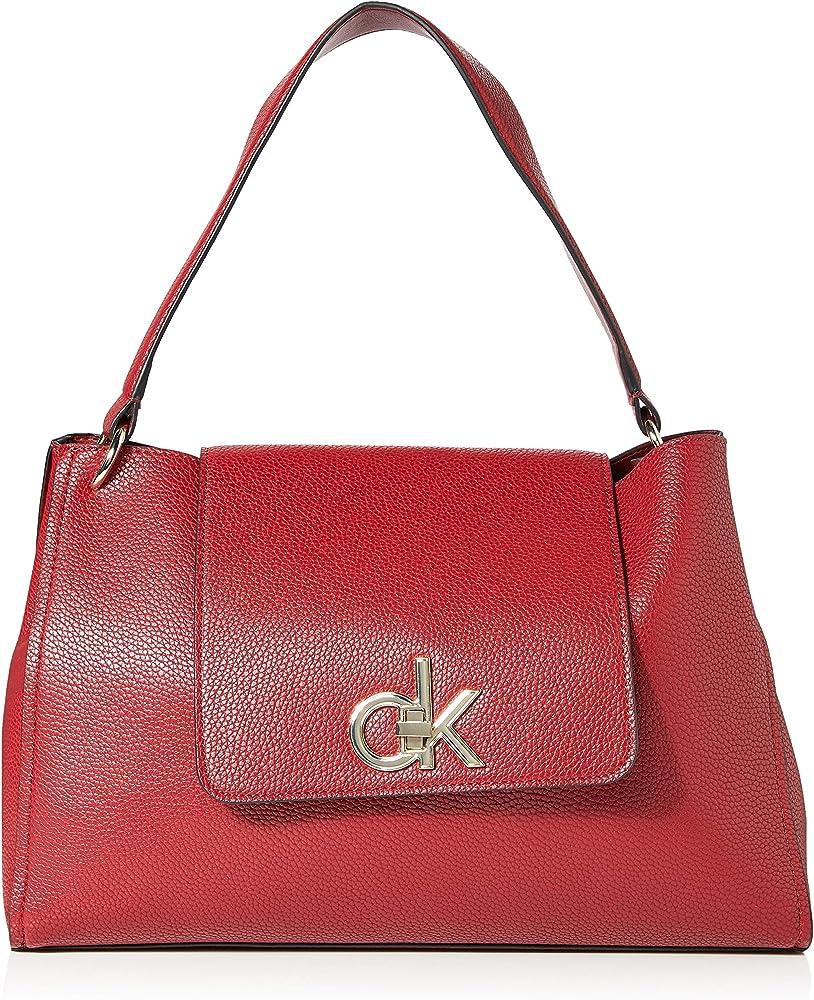 Calvin klein - re-lock top handle satchel borsa a spalla da donna in pelle sintetica K60K605607