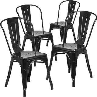 Flash Furniture 4 Pk. Black Metal Indoor-Outdoor Stackable Chair