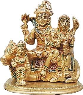 Brass Gift Center Brass Shiv Parivar On Nandi With Handwork Multicolor Laquer Decorative Showpiece - 10 cm (Brass, Yellow)