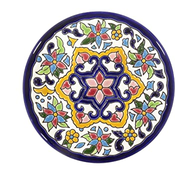Grabado y Cerámica Española Platos Decorativos para Pared, Pintados a Mano con la técnica de la Cuerda Seca. Cerámica Andaluza 14 CM.51403: Amazon.es: Hogar