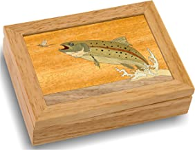 Wood Art Trout Box - Handmade USA - Unmatched Quality - Unique, No Two are The Same - Original Work of Wood Art (#4123 Trout and Mayfly 4x5x1.5)