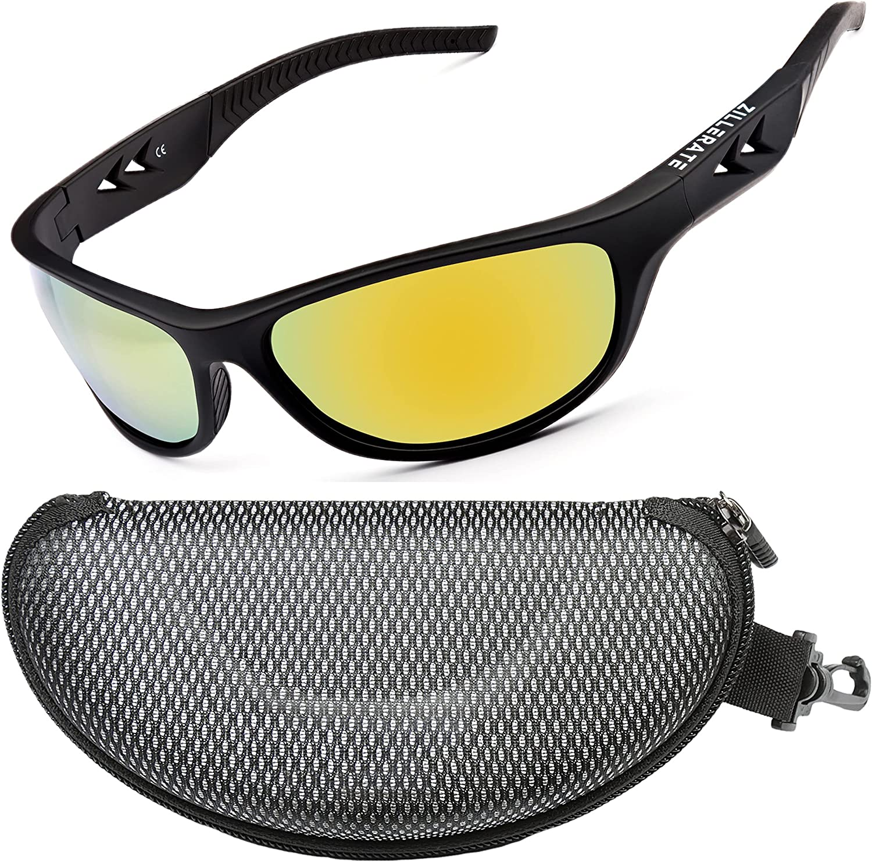 ZILLERATE Gafas de Sol Deportivas Polarizadas para Hombre y Mujer, Ciclismo Pesca Golf Running Conducción Vela Esquí, Protección UV400, Montura TR90 Ligera y Envolvente, Accesorios con Funda Dura
