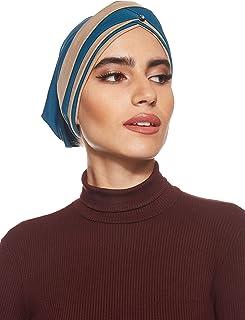 SHADOW Women's Stretchable Turban Cap With Stone Muslim Islamic Arab Scarf Headscarf Abaya Cap, One Size