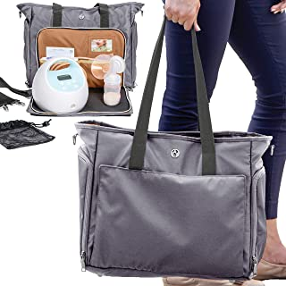 Zohzo Lauren Breast Pump Bag - Portable Tote Bag Great for Travel or Storage – Includes Padded Laptop Sleeve - Fits Most Major Brands Including Medela and Spectra (Pewter)