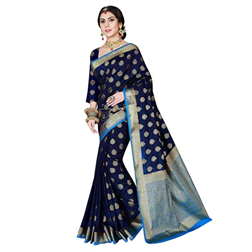 83c187cdbda35 Viva N Diva Women s Navy Blue Color Banarasi Art Silk Saree with Unstitched  Blouse Piece.