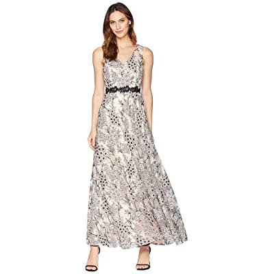 Tahari by ASL Novelty Embroidery Sleeveless A-Line Gown (Blush/Black) Women
