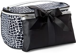 Adrienne Vittadini Makeup Bag Set: Nylon Carry On Toiletry & Cosmetic Train Case with Zipper for Women - Tote Bags with Plenty of Storage for Overnight Travel or Weekender Trips - Black & White