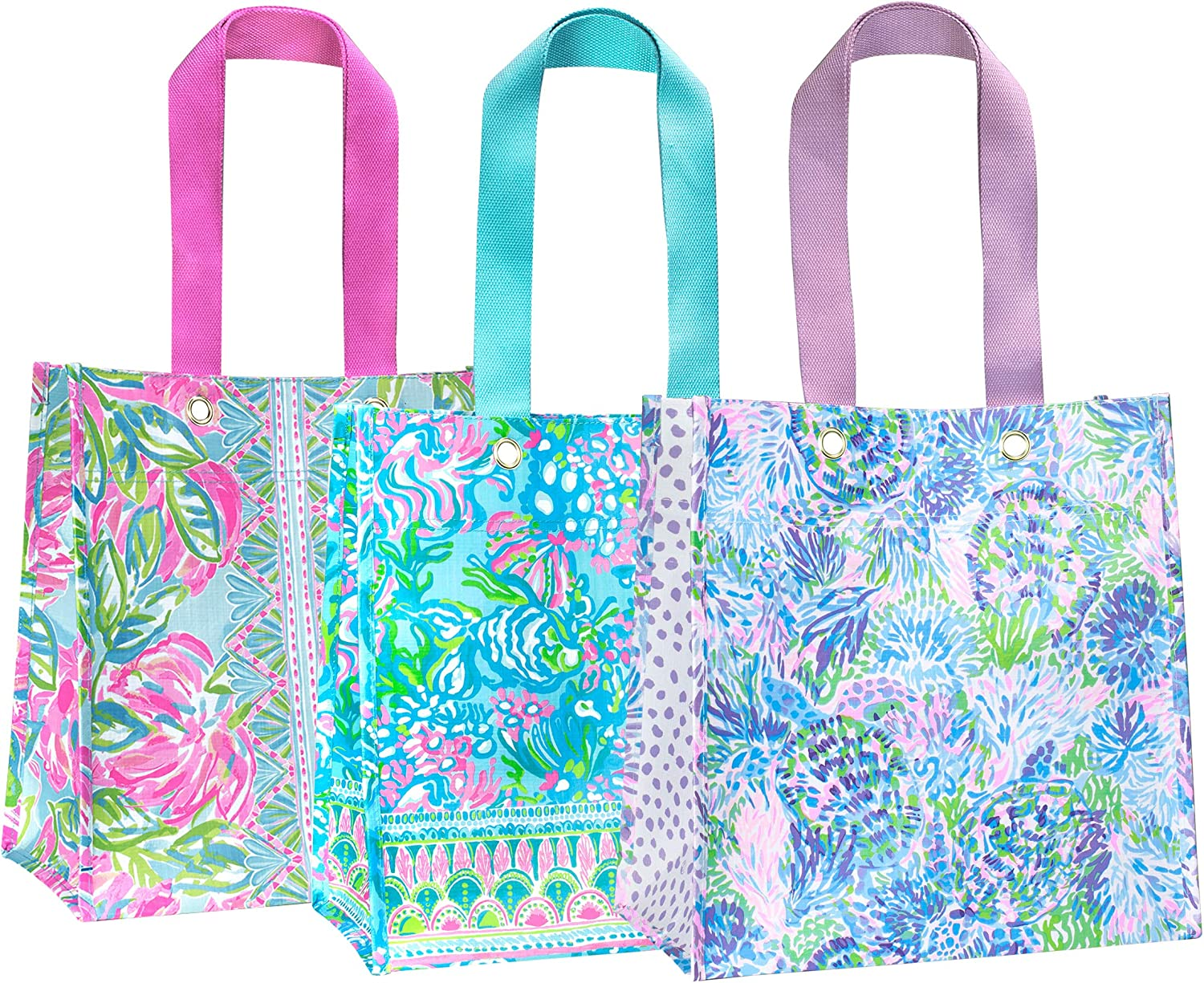 Lilly Pulitzer Market Shopper Bag Set of 2, Reusable Grocery Totes with Comfortable Shoulder Straps