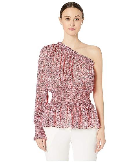 ML Monique Lhuillier One Shoulder Long Sleeve Blouse with Waist Detalining