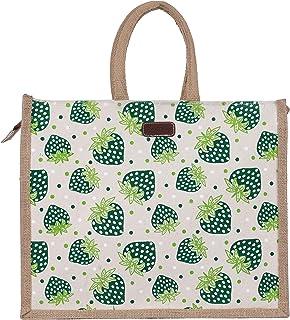 ECOTARA Litchi 100% Natural Jute Shopping & Vegetable Bag-Green (Large)