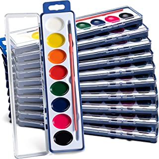 Bedwina Mini Watercolor Kids Paint Set (Pack of 12) 8 Water Color Washable Paints, Palette Tray and Painting Brush, for Ar...