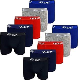 LOREZA ® 10 Calzoncillos bóxer para niño - Algodón - Modelo 2 - Pack de 10-14-15 años