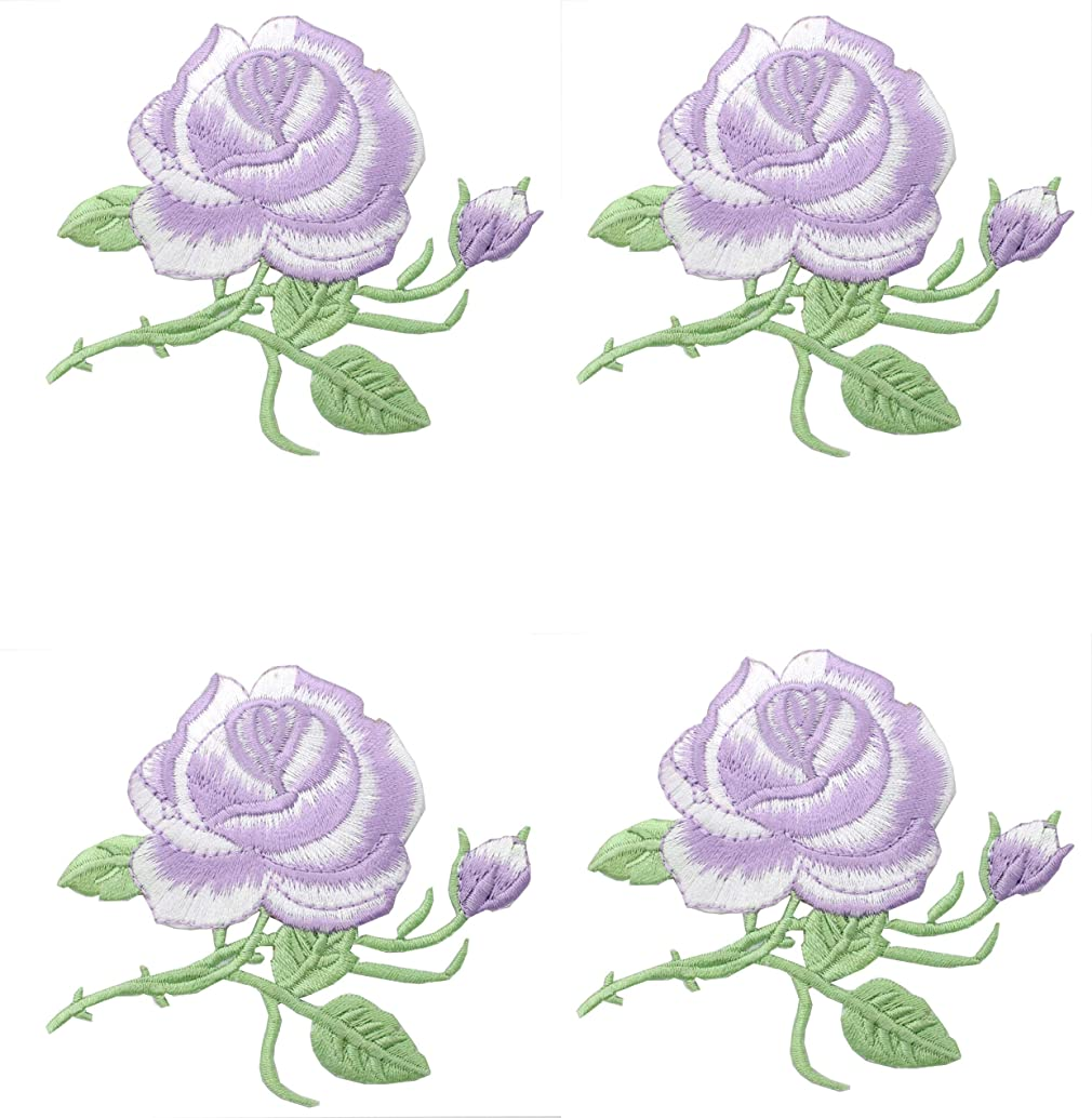 Zeng 4 Pieces Rose Patch Embroidered Flower Iron on Patch Applique for Jacket, Jeans, Dress, Shoes, Bags,Applique Decoration DIY