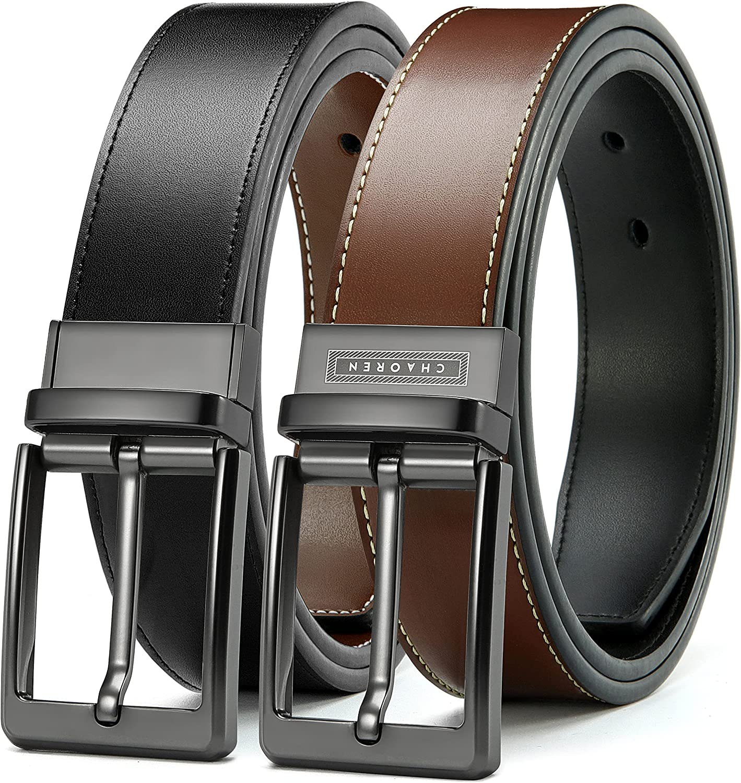 Reversible Belts for Men, CHAOREN Leather Dress Belt 1 3/8