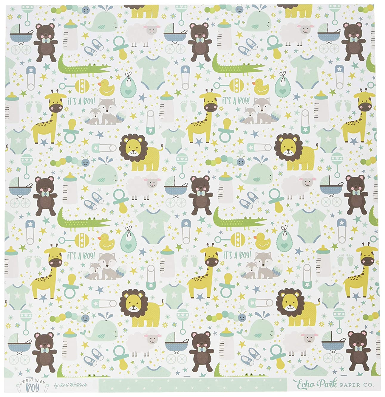 Echo Park Paper It's A Animals/Green W/White Dots Sweet Baby Boy Double-Sided Cardstock 12